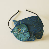 Textile Art headband fascinator Blue Begonia