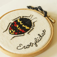 Pleasing Fungus Beetle Embroidered Hoop Art