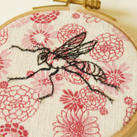 Hoop Art Embroidered Wasp Machine Embroidery