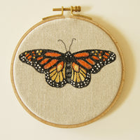 Hoop Art Embroidery Monarch Butterfly Danaus plexippus