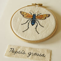 Hoop Embroidery Tarantula Hawk Wasp