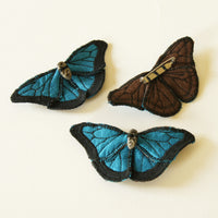 Blue Morpho fiber art brooch or hairclip silk linen ceramic