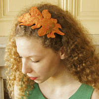 Textile Art Headband Orange Acanthus Leaf