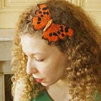 Comma Butterfly Headband Fascinator Orange and Brown