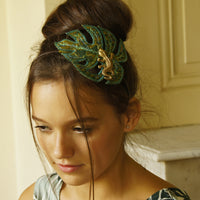 Textile Philodendron Leaf Headband Green
