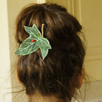 Green and Blue Ivy Leaf Hair Clips