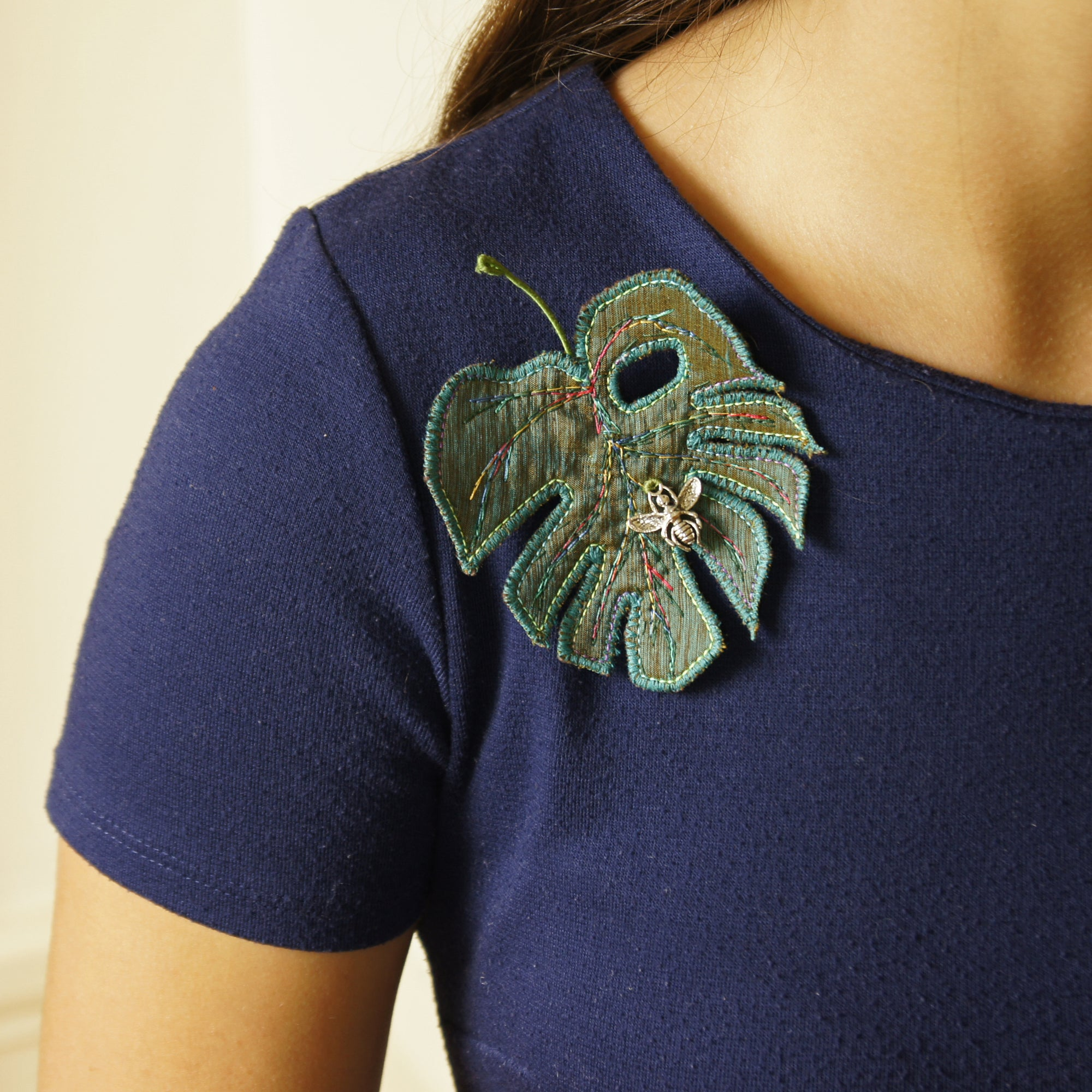 Textile Leaf Brooch Monstera deliciosa