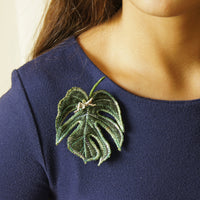 Fiber Art Brooch Silk Monstera deliciosa