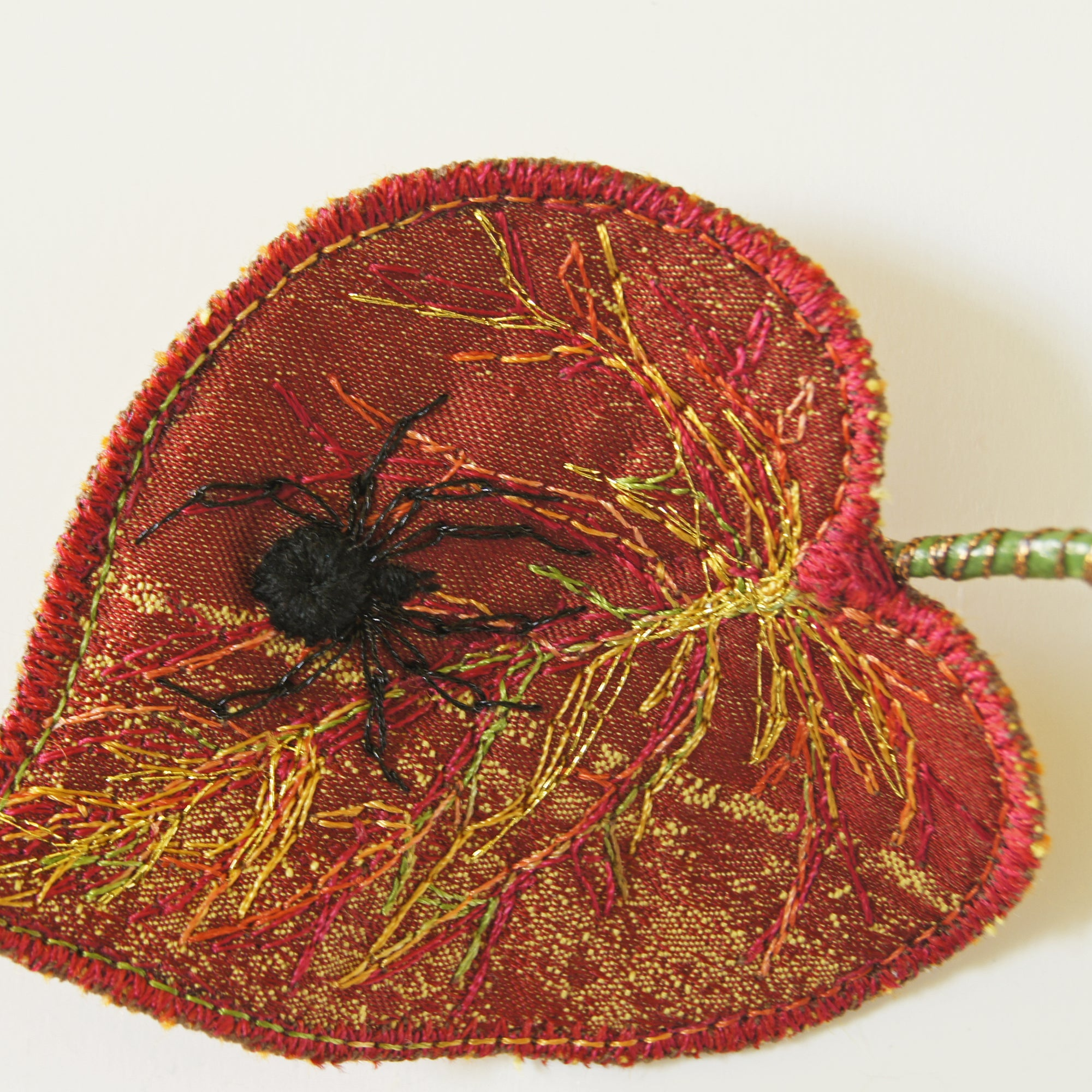 Textile Art Leaves with Embroidered Spider