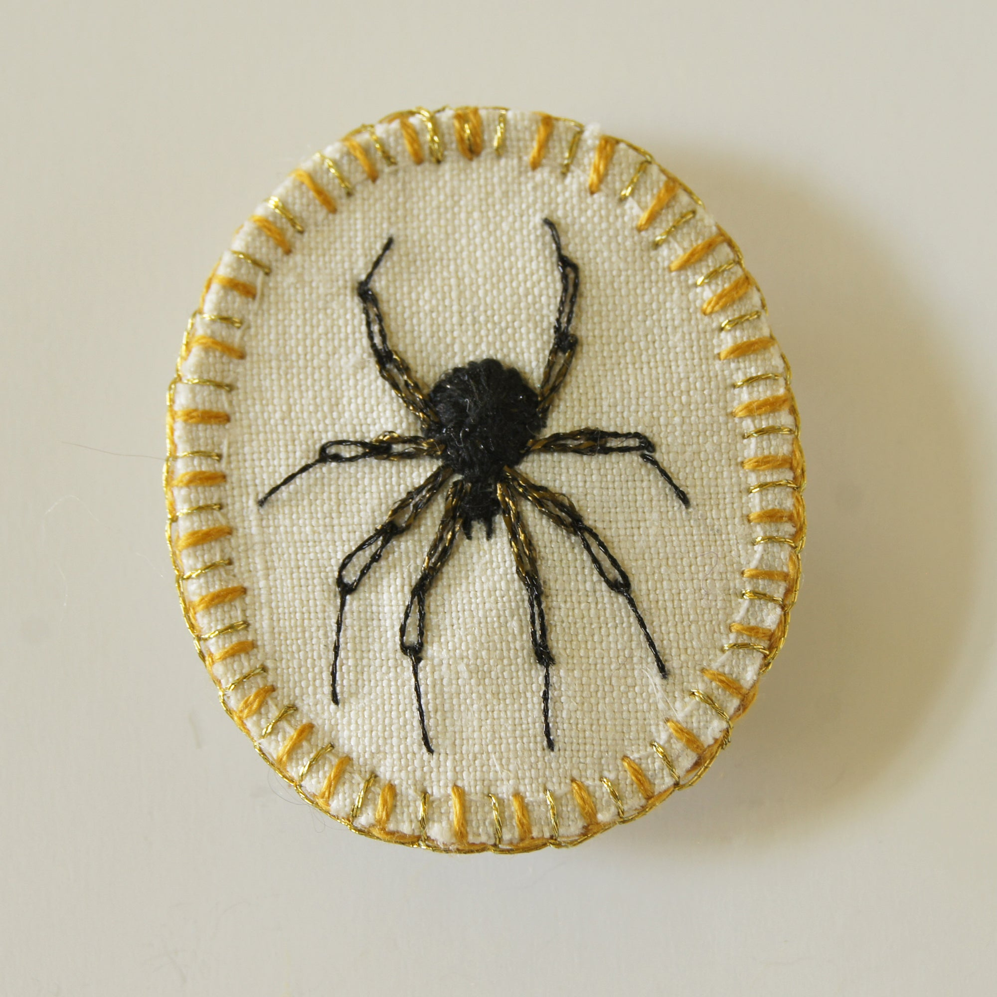 Arachnid Brooch Hand Embroidered Spider Pin Arachnophile Jewelry