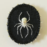Embroidered Lucky White Spider Brooch Arachnida Jewelry