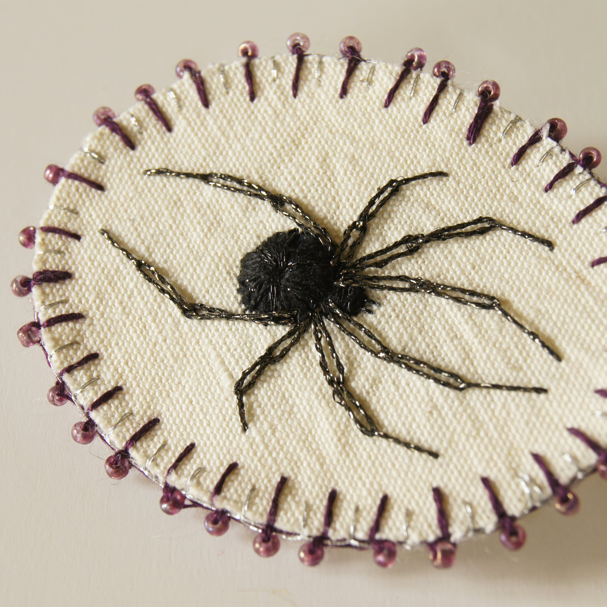 Embroidered Black Widow Spider Brooch Arachnophile Pin