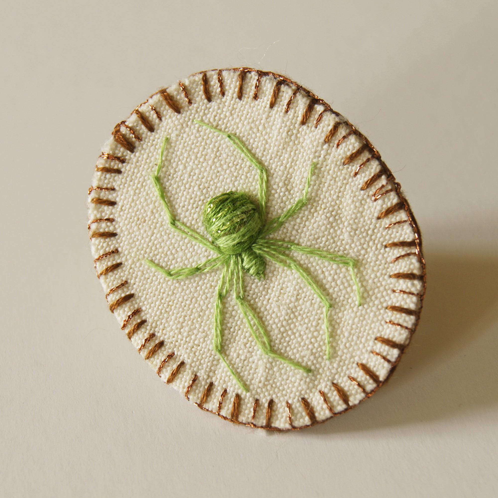 Embroidered Spider Brooch Pin Arachnophile Jewelry