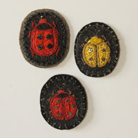 Hand Embroidered Sew On Patch Ladybug Ladybird Red Yellow Coccinellidae
