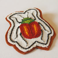 Hand Embroidered Sew On Patch Red Leaf Beetle Chrysomelidae Entomology