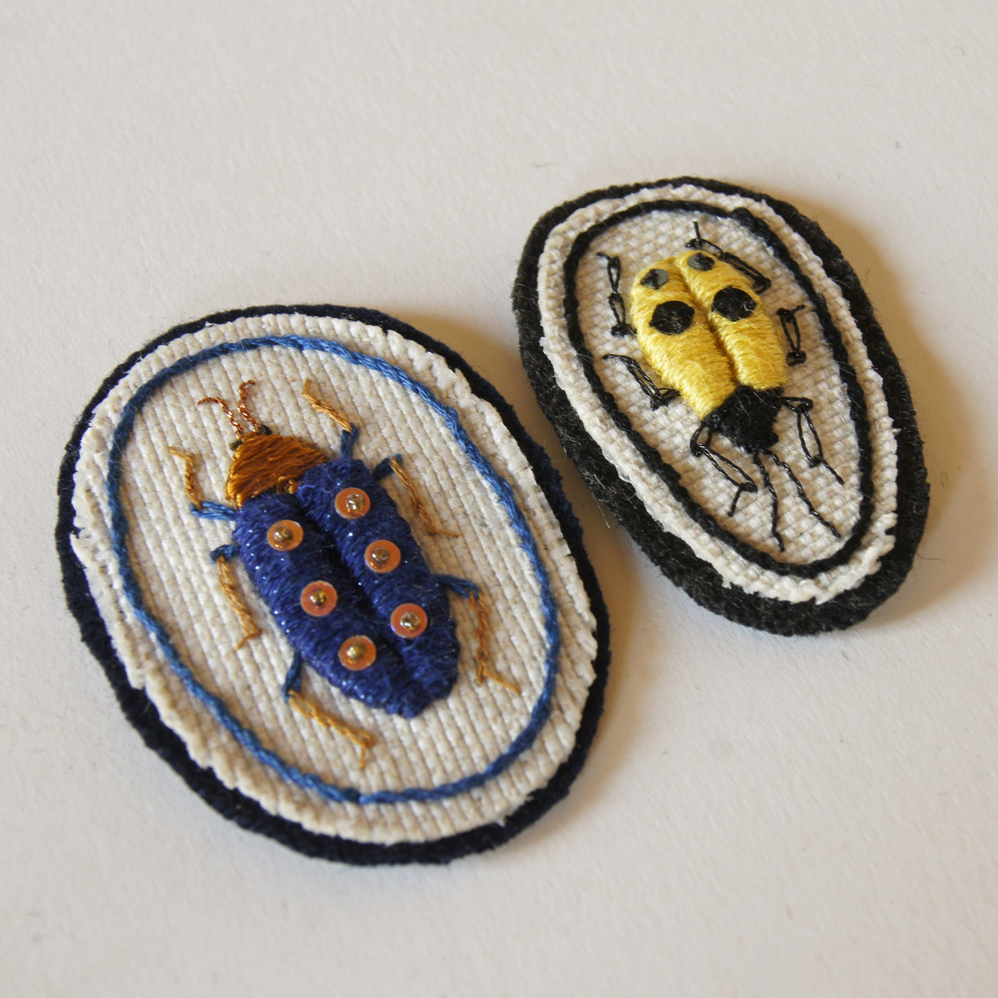 Hand Embroidered Sew On Patches Set of Two Jewel Beetles Buprestidae