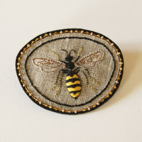 Common Wasp Hand Embroidered Sew-on Patch