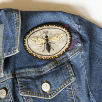 Mournful Wasp Hand Embroidered Sew On Patch