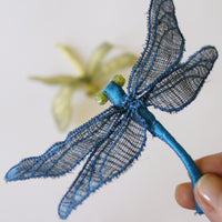 Fiber Art Dragonfly brooch or hair fork blue silk