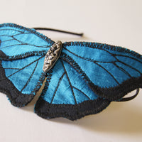 Headband Blue Morpho Butterfly Silk Botanical Hairband