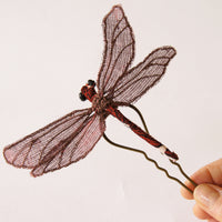 Fiber Art Dragonfly hair fork or brooch red and brown