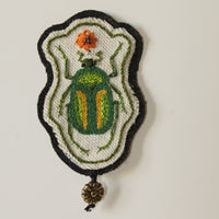 Hand Embroidered Sew On Patch Flower Chafer Beetle