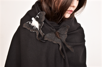 Black Luna Moth Fiber Art Brooch Collaboration with Nuit Clothing Atelier