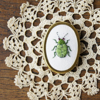 Green Leaf Beetle brooch pin hand embroidered entomology jewelry