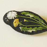 Embroidered dandelion brooch