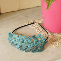 Teal Blue Fern Leaf Fascinator, Headband