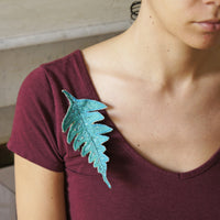Blue Fern Leaf Brooch