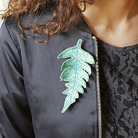 Green Fern Leaf Brooch