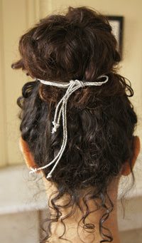 Silver Silk Bun Wrap, Botanical Hair Accessory