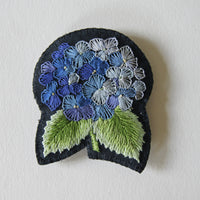 Embroidered hydrangea brooch