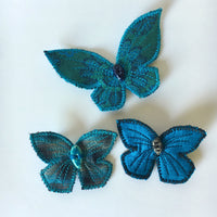 Hair Clips Blue Silk Butterflies Woodland Accessory