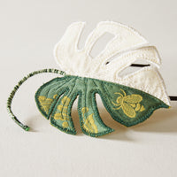 White variegated Monstera deliciosa, Textile Tropical Leaf Headband