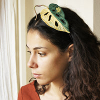 Monstera adansonii variegata headband, Botanical Fascinator
