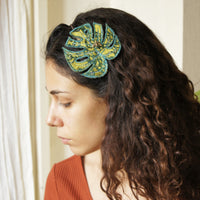Textile Monstera Leaf Headband Green