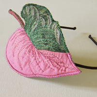 Pink Princess Philodendron Headband, Botanical Fascinator