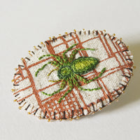 Hand Embroidered Jumping Spider Brooch Arachnida Jewelry