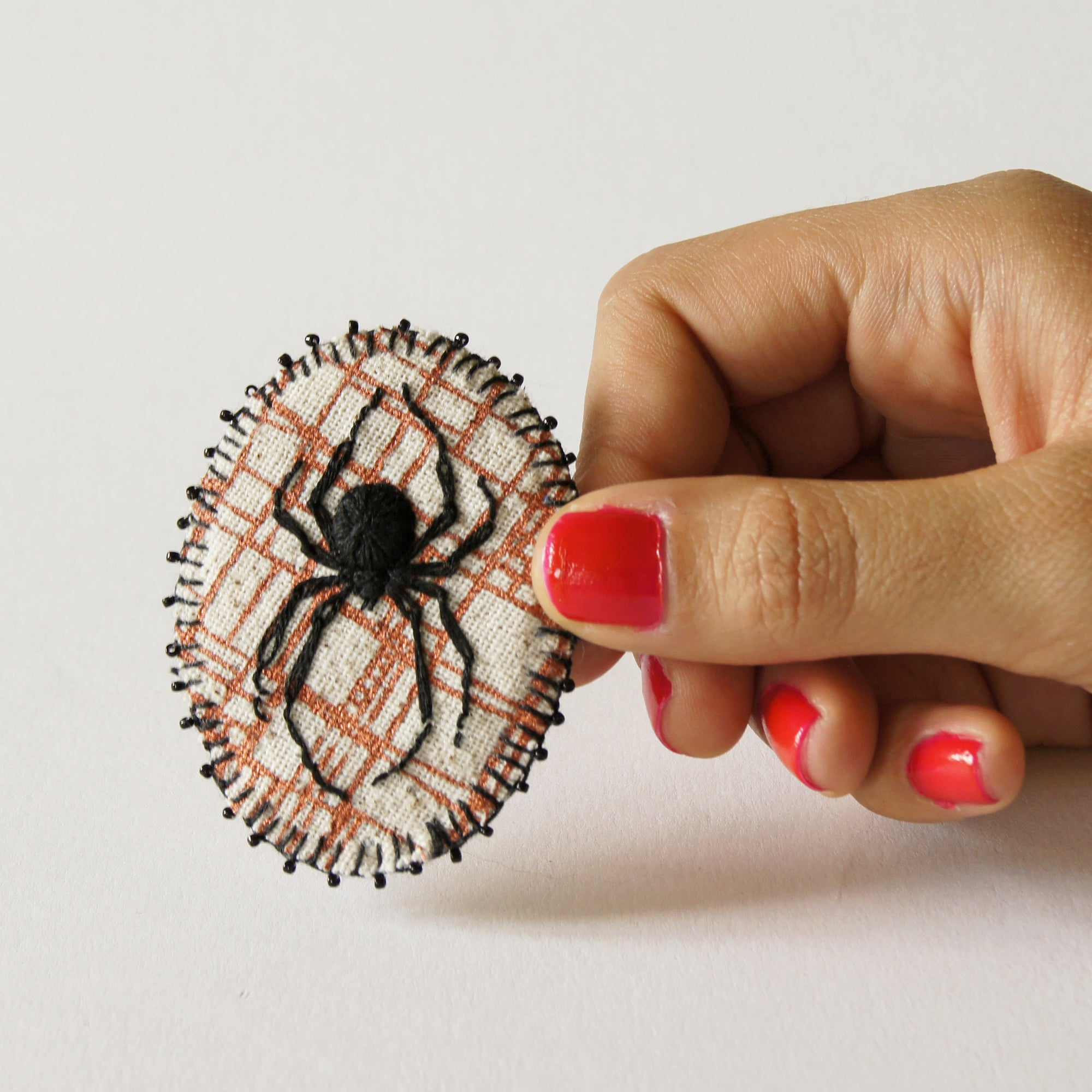 Hand Embroidered Black Widow Spider Brooch Arachnida Jewelry