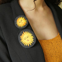 Large Textile Hand Embroidered Sun Brooch Pin Celestial Jewelry