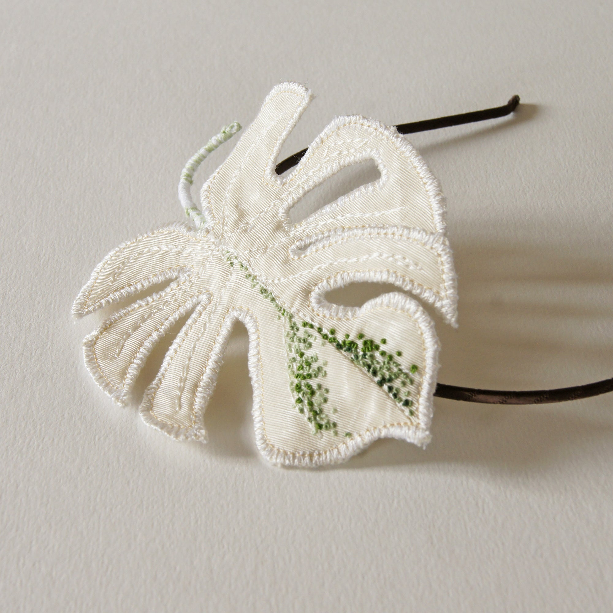 Monstera Deliciosa Albo Headband, Embroidered Tropical Leaf