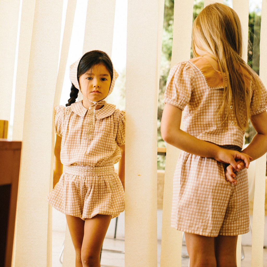Ensemble Dolores picnic check Apolina - Collection SS20 Apolina à retrouver sur amaetc.com, concept store eco friendly pour enfants
