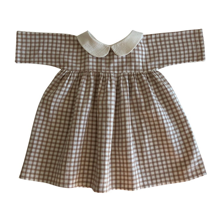Robe Col claudine Natural + check