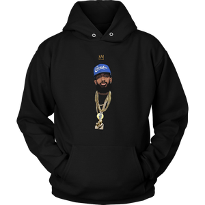 King Nipsey V2 Illustrated Hoodie (Blue Hat)
