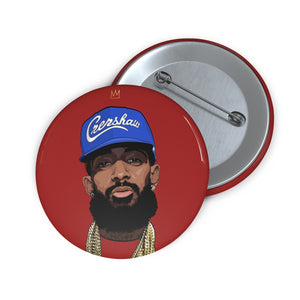 King Nip Blue Hat Button