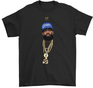 King Nipsey V2 Illustrated Blue Hat Tee (Large Sizes Up to 5XL)