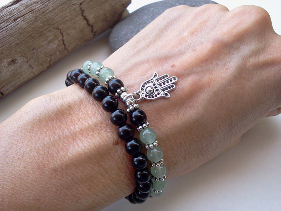 Onyx and Jade good Luck bracelet