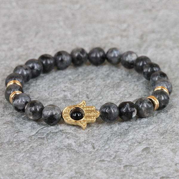 Black Lava Tiger Eye Energy Stone Beads Bracelet, Mala bracelets